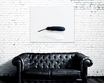 feather art canvas art large wall art boho wall art bohemian decor canvas print feathers black and white art gallery canvas minimalist art