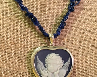 Sterling Silver Angel Pendant Beaded Necklace