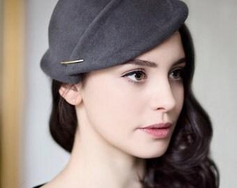 Mini Hat, Wedding Headpiece, Grey Felt Hat, Handmade Hatinator, Fascinate - Ortie