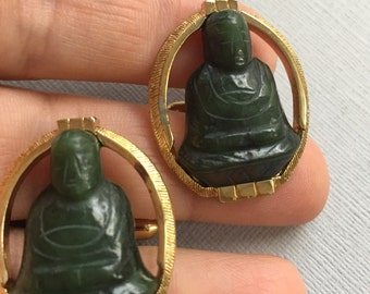 Carved Jade Buddha CuffLinks Swank