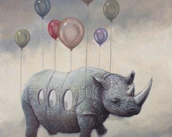 Air Rhino. Signed Art Print of an Original Surreal Oil Painting