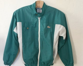 Vintage 80s / Boys / Teal Green and White / Izod Lacoste / Windbreaker / Jacket / Size 12