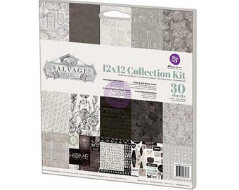 """Prima SALVAGE DISTRICT Collection Kit 12"""" Cardstock, Stickers, Journaling"""
