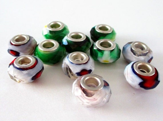 Rondelle Beads -  European Style Glass Beads -  Large Silver Core - Mix Green White Lampwork - Euro Style Beads  (11) Pcs - 12mm - DIY Craft