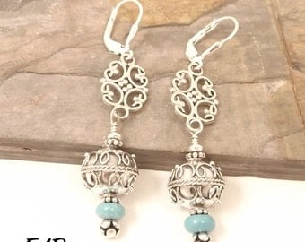 Sterling Silver Bali and Turquoise Earrings