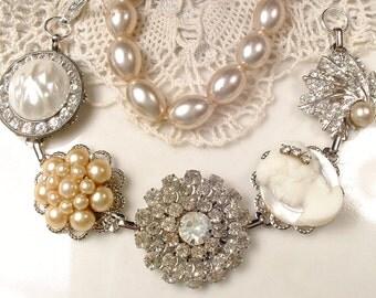 Champagne & Ivory Pearl, Cameo, Rhinestone Bridal Bracelet, OOAK Antique Silver Vintage Earring Bridesmaid Bracelet Rustic Country Wedding