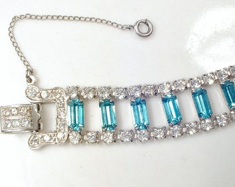 Vintage Aqua Rhinestone Art Deco Bridal Bracelet, Aquamarine Blue Bracelet, Silver Wide Link 1920s Crystal Turquoise Teal Gatsby Wedding