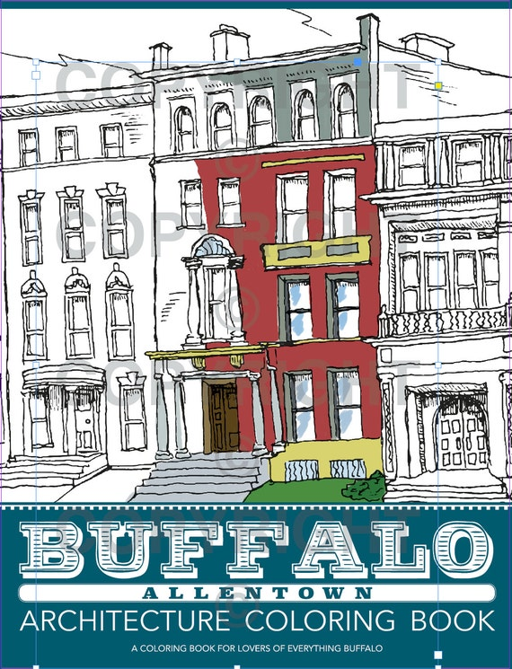 Items similar to Buffalo Architecture Coloring Book Allentown ...