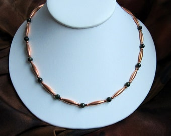 Jade and copper necklace