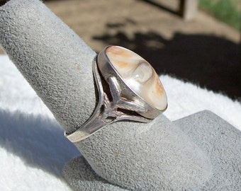 Antique Blister Pearl Ring Sterling Silver Size 10 Abalone Art Deco Art Nouveau
