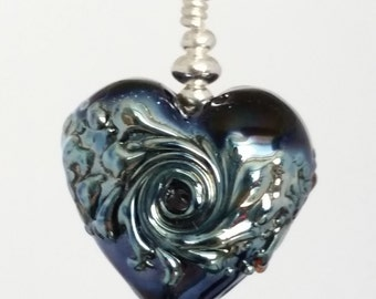 Sterling Silver and Midnight Blue Lampwork Heart Bead Pendant. Clare Scott.