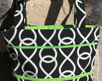 Large Zippered Carry-On Tote Bag in Black, White and Green