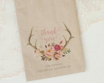 kraft favor bags with blush floral antler design set of 5 - rustic wedding favor bags - antler wedding favors - watercolor floral favor bags