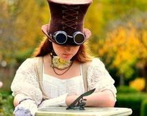 Brown Steampunk Hat. Mad Hatter Hat. Fantasy Hat. Cosplay Hat. LARP.