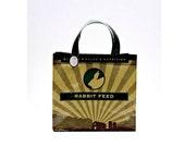 Feed Sack Bag, Green Tote, Recycled Feedsack, Feed Tote, Rabbit, Feedsack Tote, Grocery Bag, Feedsack Bag, Plastic Bag, Grain Bag, Upcycled