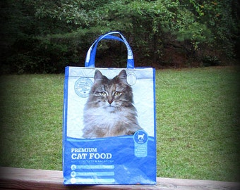 Cat Food Tote, Recycled Feed Bag, Feedsack Tote, Grocery Bag, Blue and White, Feedsack Bag, Feed Sack Bag, Feed Sack Tote, Cat Bag, Upcycled