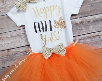 Baby Girl Thanksgiving Outfit, Happy Fall Y'all Bodysuit; Onesies® brand by Gerber®; Fall bodysuit and tutu, thanksgiving dress