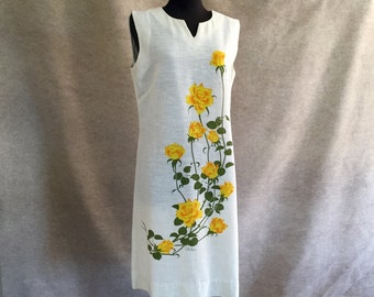 SHAHEEN... Vintage 60's Sleeveless Sheath Dress, LOVELY Yellow and Sage Green Rose Floral, Medium to Large, Bust 38