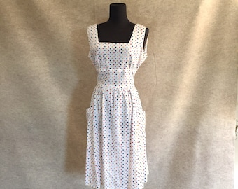 Vintage 60's Day Dress, White Polka Dot Sundress, Sleeveless, Rockabilly,Medium, Bust 40, Waist 30