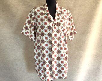 Vintage 60's Pajama Shirt, 60's PJ Shirt, Short Sleeve White, Red, Aqua Medallion Print, Medium to Large, Rockabilly, 50's Style, Chest 42