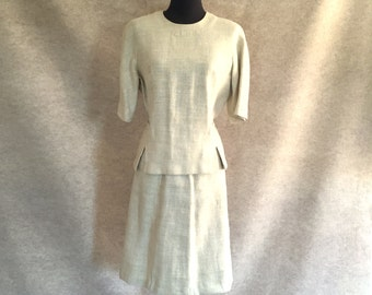 Vintage 60's Skirt Suit, Beige Linen Top and A-line Skirt, Size XS to Small, Waist 24