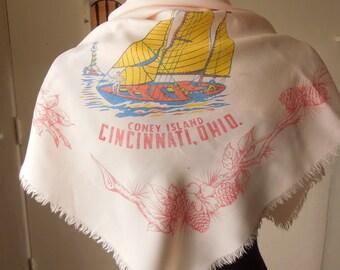 Vintage 50's Souvenir Scarf, Coney Island, Cincinnati OHIO, Sailboat Lighthouse Graphic, Pink, Blue and Yellow