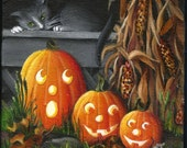 "4"" X 4"" Cat 'n Mouse w Pumpkins   Original Acrylic Painting    Small Format Art"