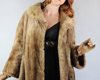 Vintage 50s 1950s Women's Medium Brown Vegan Faux Fur Long Evening Dress Opera Formal Winter Coat