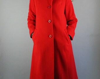 Vintage 60s 70s Women's Bright Lipstick Red Wool Long Formal Dress Wear to Work City Street Style Winter Coat