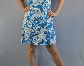 Vintage 60s Women's Teal Blue White Daisies Floral Mod Scooter Mini Romper Sleeveless Spring Summer Dress