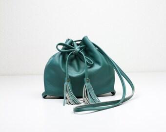 Small Teal Bucket Bag, Teal Leather Bag, Green Fringe Purse, Festival Bag, Crossbody Purse, Small Green Purse