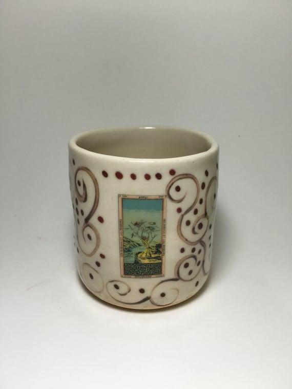 Tarot card card handmade stoneware cup tarot tumbler - Handleless coffee mugs ...