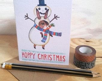 Snowman Christmas card, rabbit Christmas card
