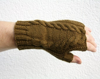 Brown Fingerless Gloves, Hand Knitted Gloves with Cable Pattern, Thin Mens Gloves, Womens Fall Fashion Accessories, Olive Brown Short Gloves