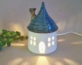 Fairy House/ Night Light - with a Blue/Green Roof - Made by Hand on the Potters Wheel - Ready to Ship