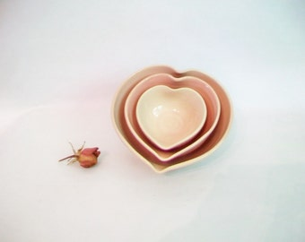 Heart Bowls - Actual Set of 3, Nesting, Handmade, Shades of Pink - 4.5 inch diameter - Lovely Gift - Ready to Ship