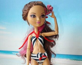 EAH Doll Nautical Swimsuit, EAH bathing suit, Marine Style Swimsuit, Nautical Bikini, White Blue Red Bikini, EAH Doll Clothes