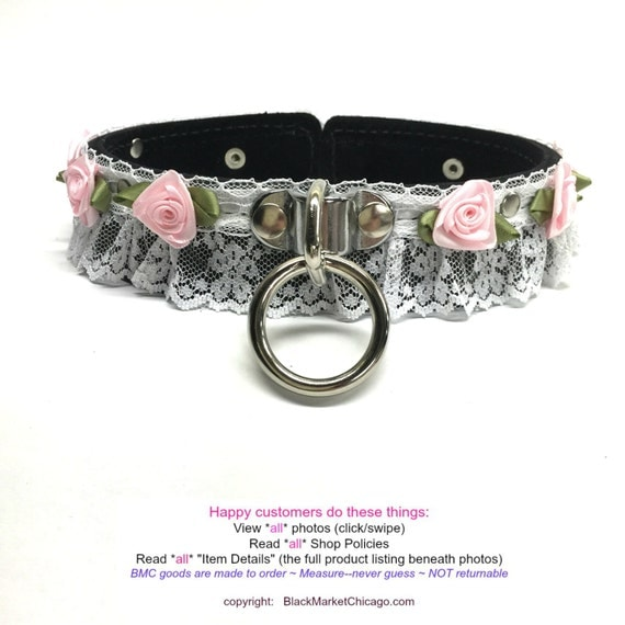 BDSM Sissy Maid Bondage Collar Leather Lace BLACK with PINK Roses Lockable