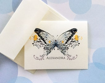 Personalized Stationery, Custom Note Cards, Butterfly Card, Set of 6