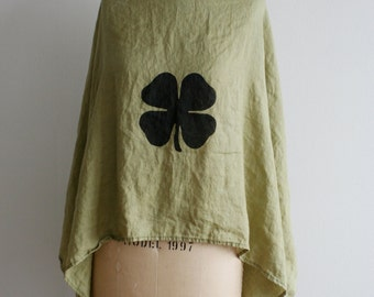 Irish Scarf , St. Patrick's Day Scarf , Ireland Linen Scarf, Shamrock ,  Linen Scarves, Ireland Scarf, Green Scarves