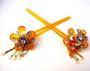 Vintage Japanese kanzashi hairpin set geisha hair pin hair pick hair fork hair comb headpiece headdress (AAB)