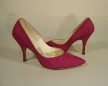 Some Do Like It Hot - Late 50s Early 60s Hot Magenta Fabric Pumps Stiletto Heels  - 7