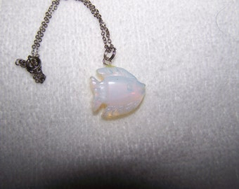 Carved Opal Glass Fish Silver Necklace