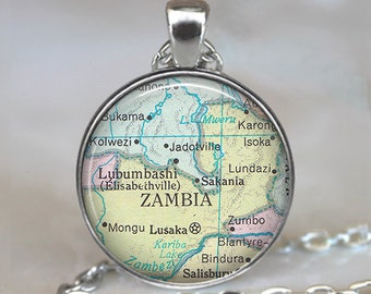 Zambia map necklace, Zambia map pendant, Zambia pendant, Zambia necklace Africa map jewelry keychain key chain key fob