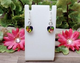 Rainbow Swarovski Heart Earrings - Medium Vitrail - Valentine Earrings