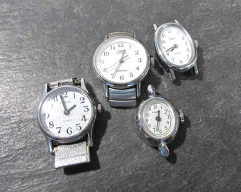 Watches for Parts or Repair Four (4) Watches Mechanical Movements Gears Jewels Face Plates Crystals Vintage Jewelry Art Supplies (N81)