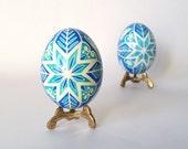 Pysanka,chicken egg shell hand painted,Ukrainian Easter,blue snowflake holidays trending item,most popular on Etsy,best selling items,Easter