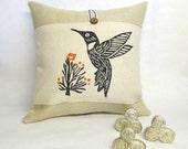 Hummingbird Burlap Pillow - Bird Pillow - Decorative throw accent pillow cover - Burnt Orange Accent