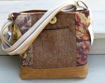 Brown wool tote bag, brown shoulder bag, wool messenger bag, brown rust, and purple suit coat bag, recycled wool handbag, waxed canvas bag