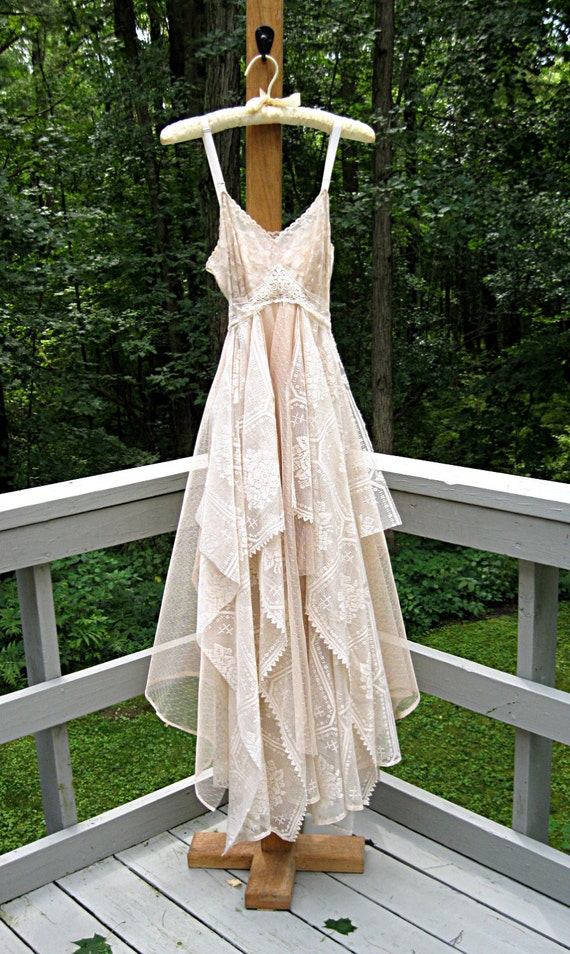 Xs size 2 floor length beige cafe au lait bohemian boho gypsy Hippie vintage wedding dresses